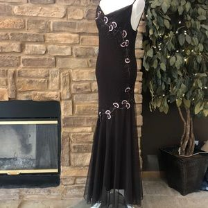 Xscape Silk Maxi Gown Floral Embroidery Beaded 12